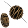Beads Metalized Round Disc With Squiggle Line 6X11mm Antique Gold